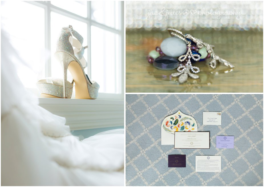 jacnjules photographs wedding details, the shoes, dress detail, invitations, and jewelry