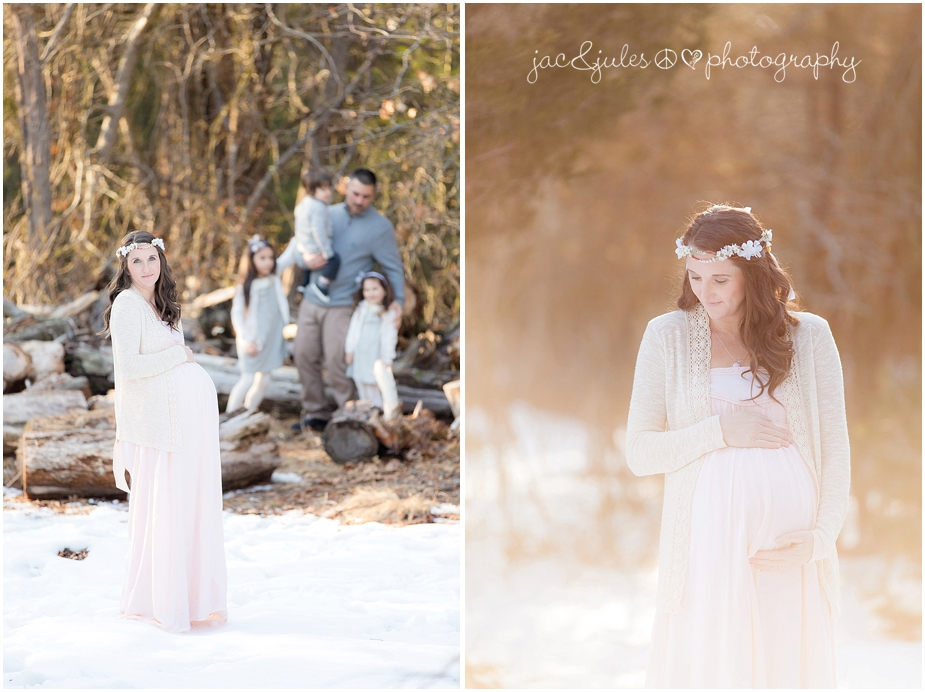 bohemian maternity photos in the woods at double trouble state park in nj by jacnjules