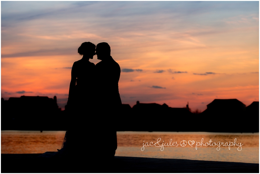 jacnjules photographs a bride and groom at the channel club at sunset