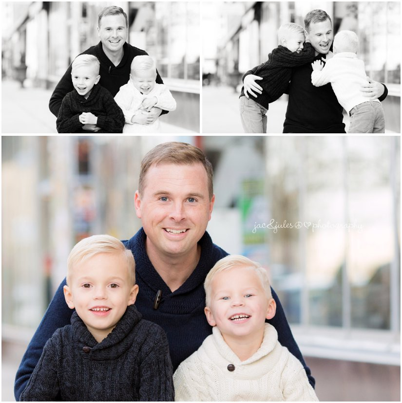 Photo of a handsome dad and his two little boys on cookman avenue in Asbury Park, NJ