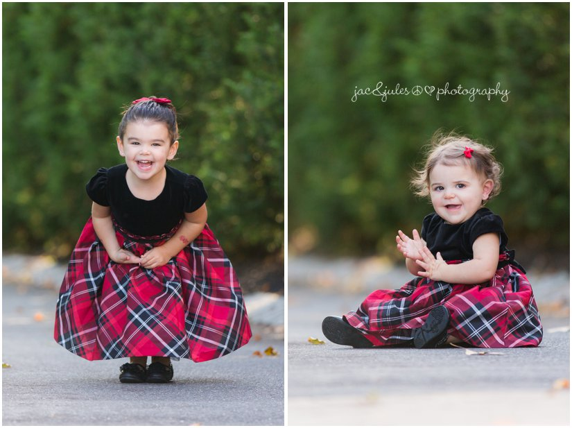 girls in red plaid dresses for holiday photos in Colts Neck, NJ