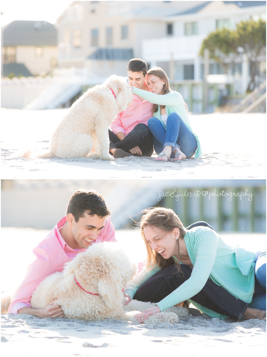 engagement photo with their dog on the beach in margate city, nj