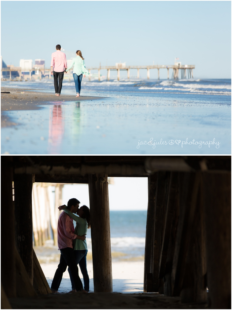 engagement photo on the beach in margate city, nj