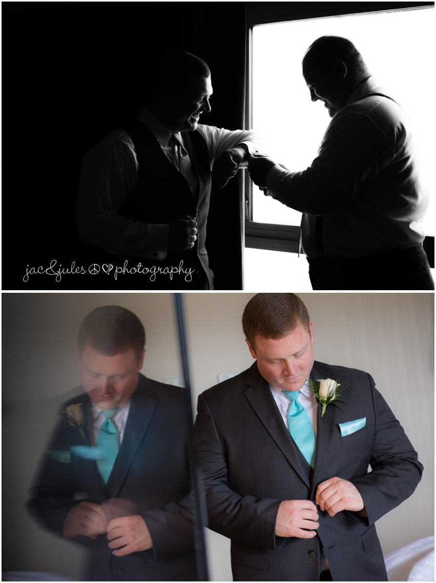 jacnjules photographs a groom getting ready at the sheridan hotel of eatontown