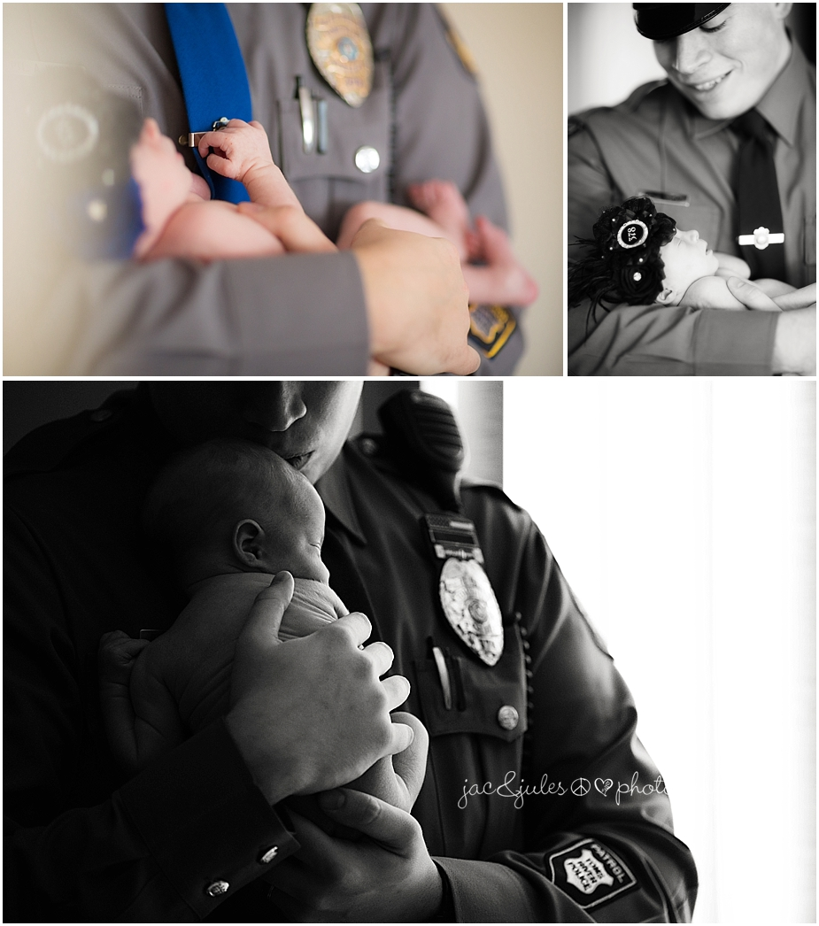 jacnjules photographs newborn baby girl with her father who is a police officer