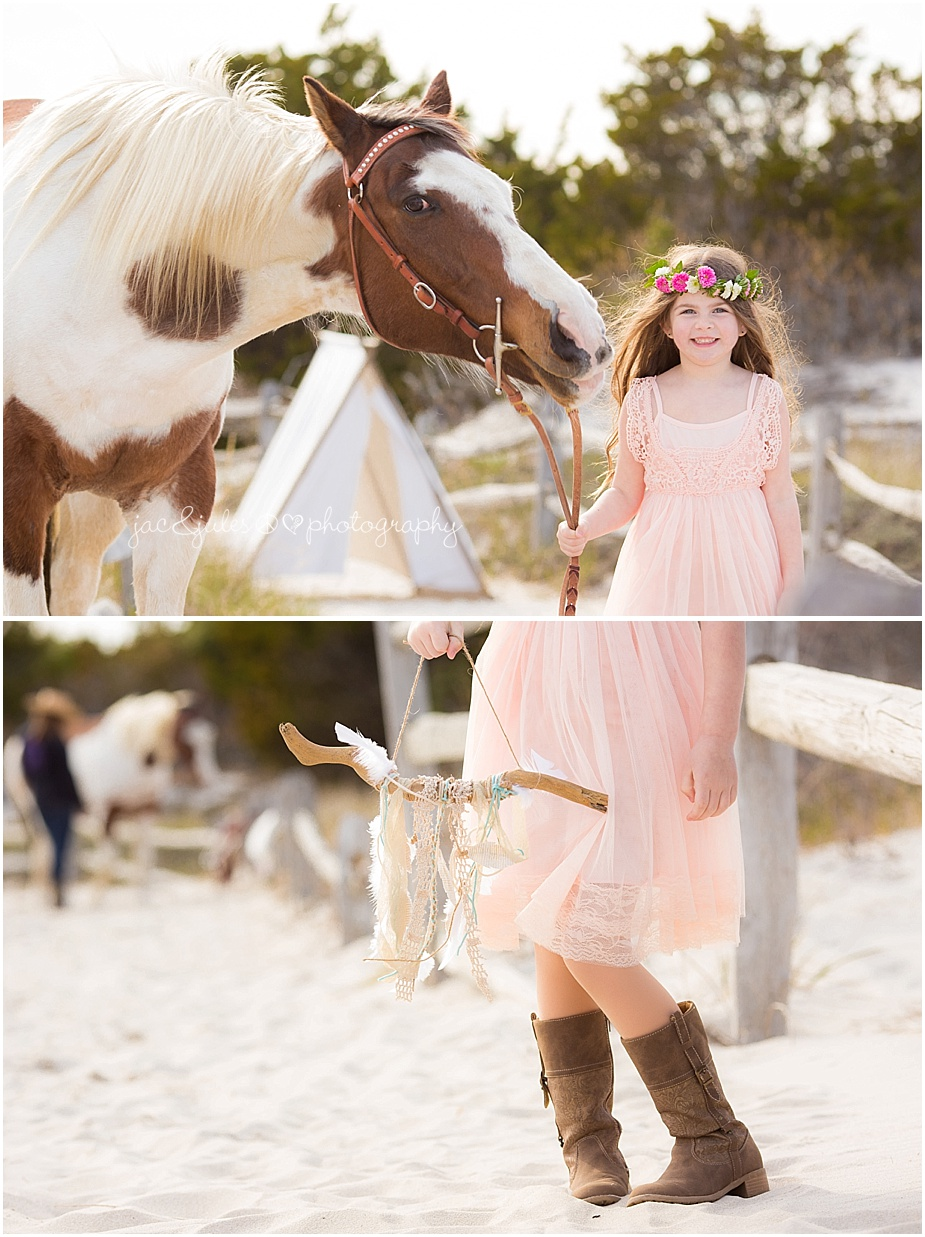 jacnjules bohemian styled beach photos with children and horse