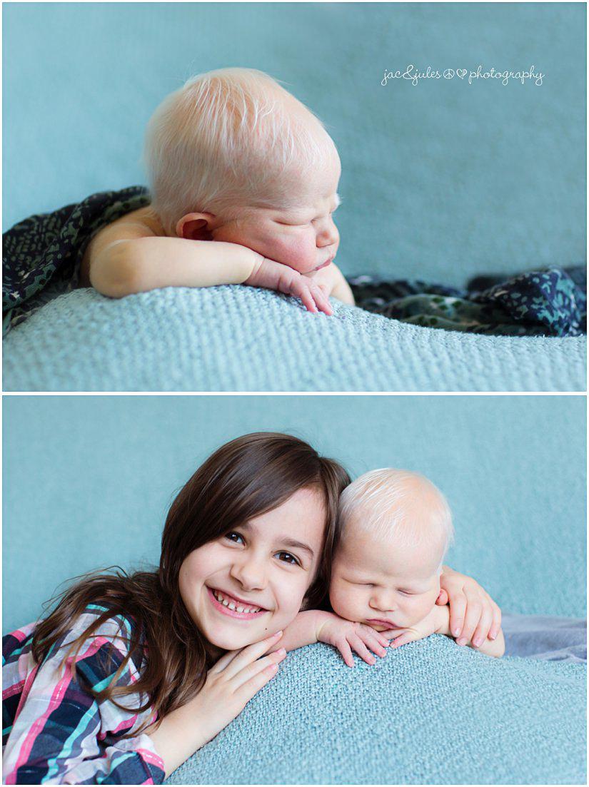 newborn baby boy with his big sister