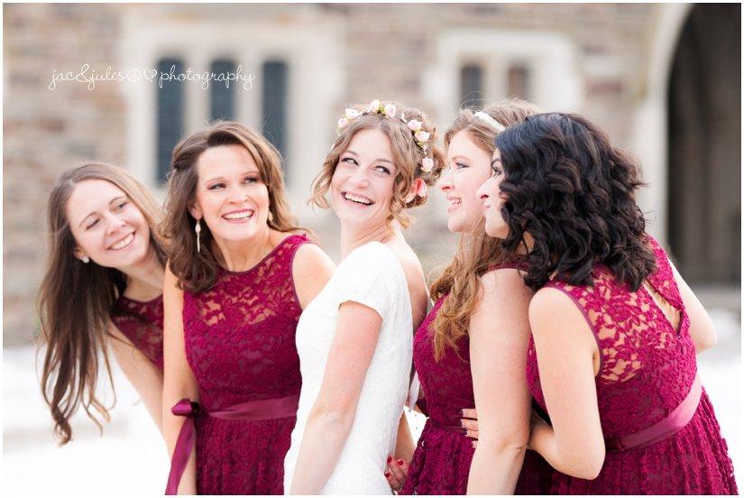 winter wedding bridesmaids at Princeton University