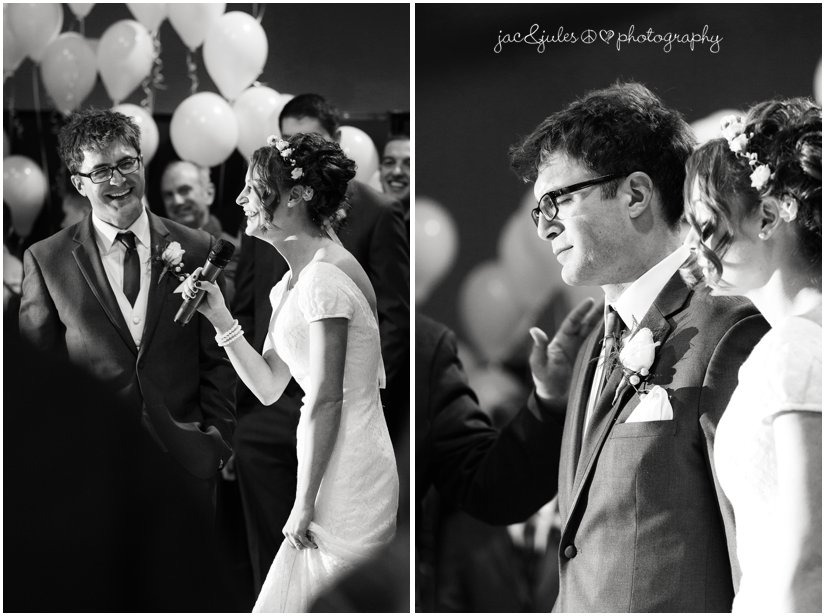 black and white photos of bride and groom speaking.