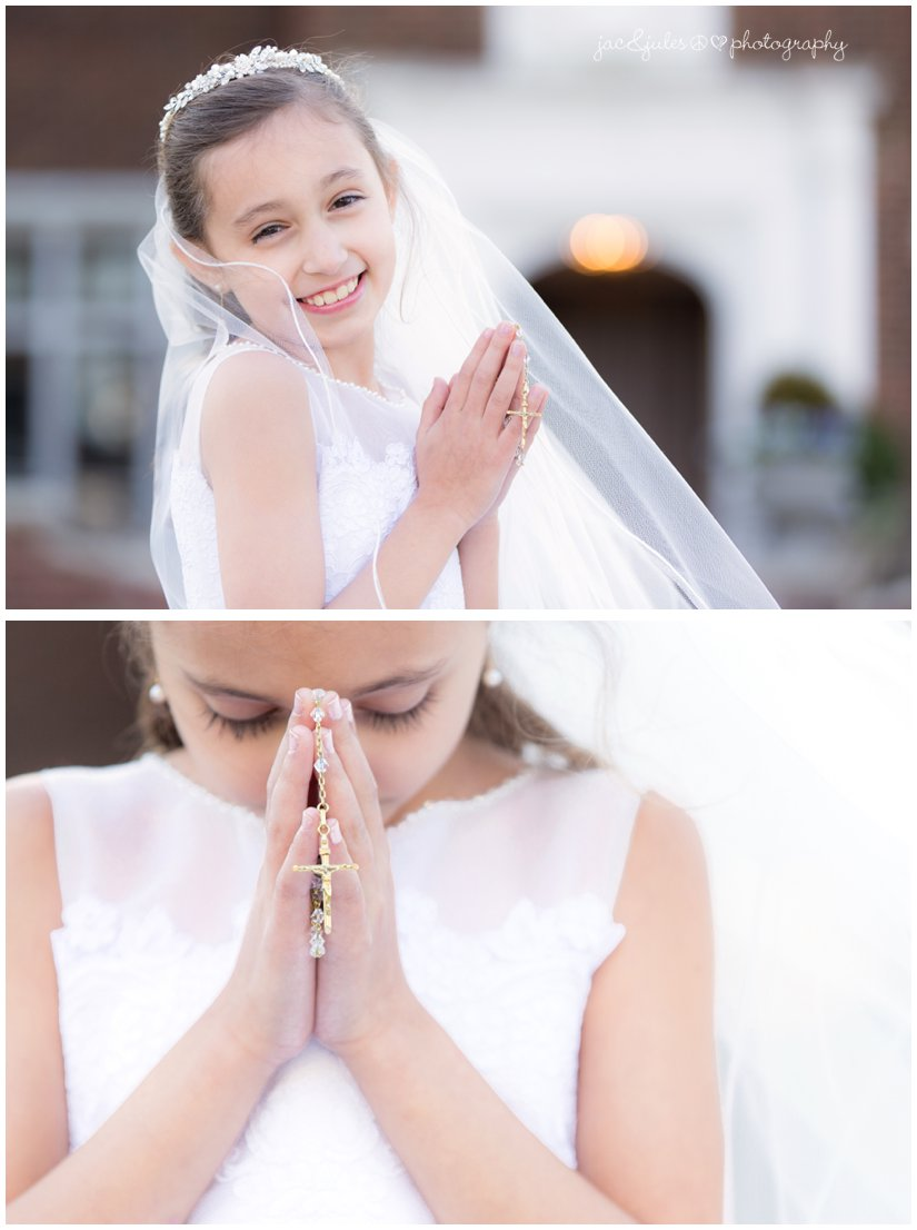 communion girl with rosary beads.