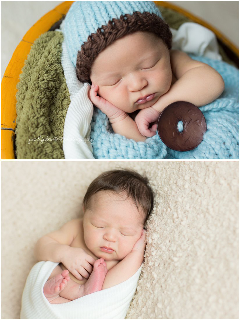 newborn baby boy in shallow yellow bowl and in cream wrap