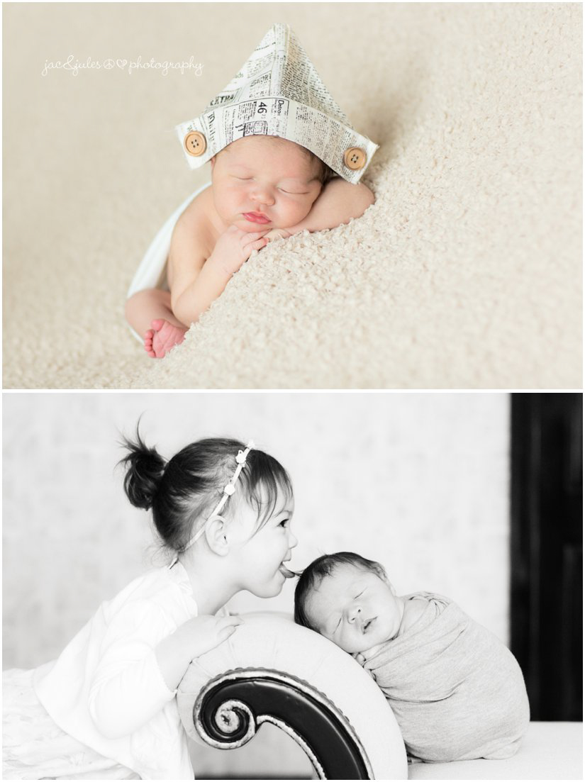 newborn baby boy in triangle newspaper hat and with sister