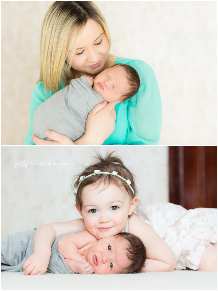 newborn baby boy with mom and sister