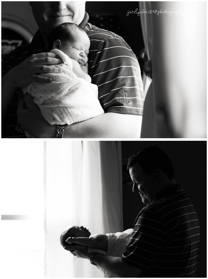 moody black and white photos of newborn boy with dad, lifestyle.