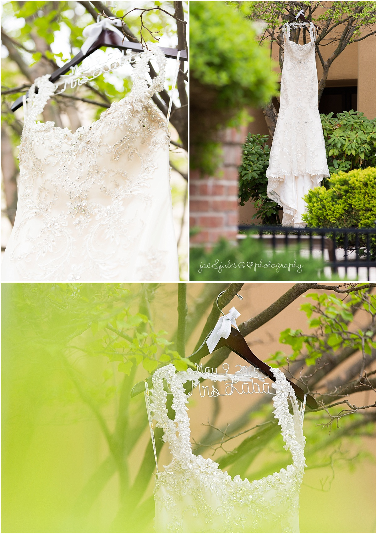 beautiful wedding dress and custom hanger photographed outdoors