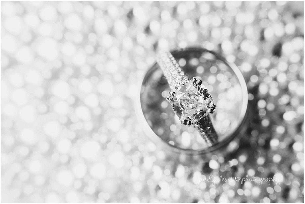 black and white of wedding and engagement rings