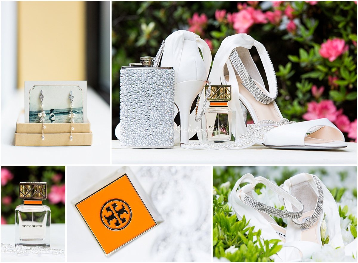 brides accessories shoes, beaded flask, tori burch perfume, jewelry.