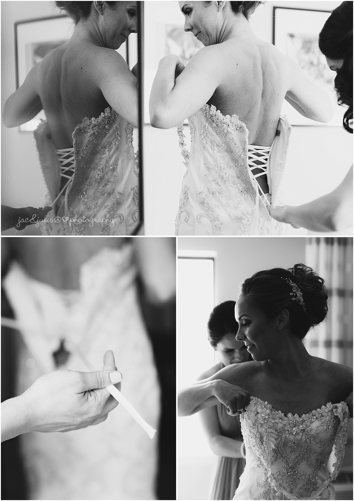 brides sister tying her corset dress