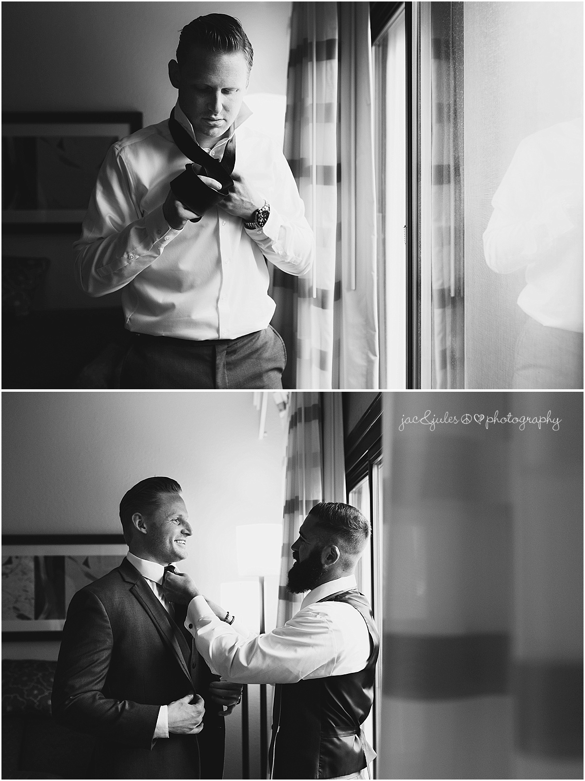 best man helping groom with his tie.