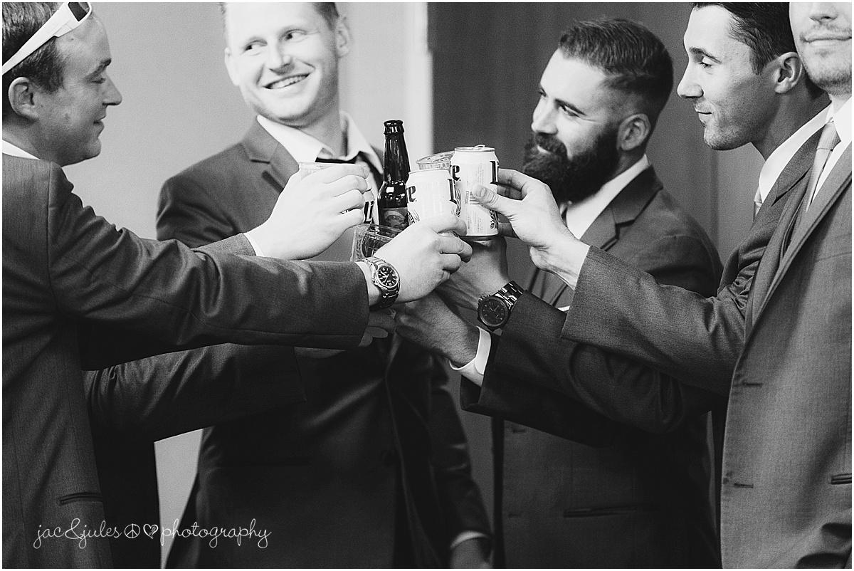 groomsmen cheers, toast.
