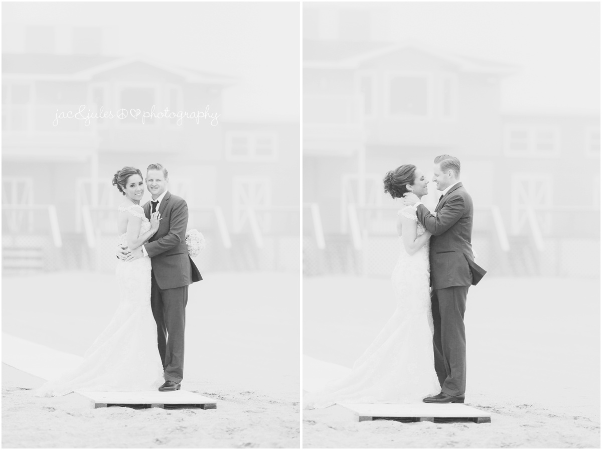 full body photo of bride and groom on the foggy beach