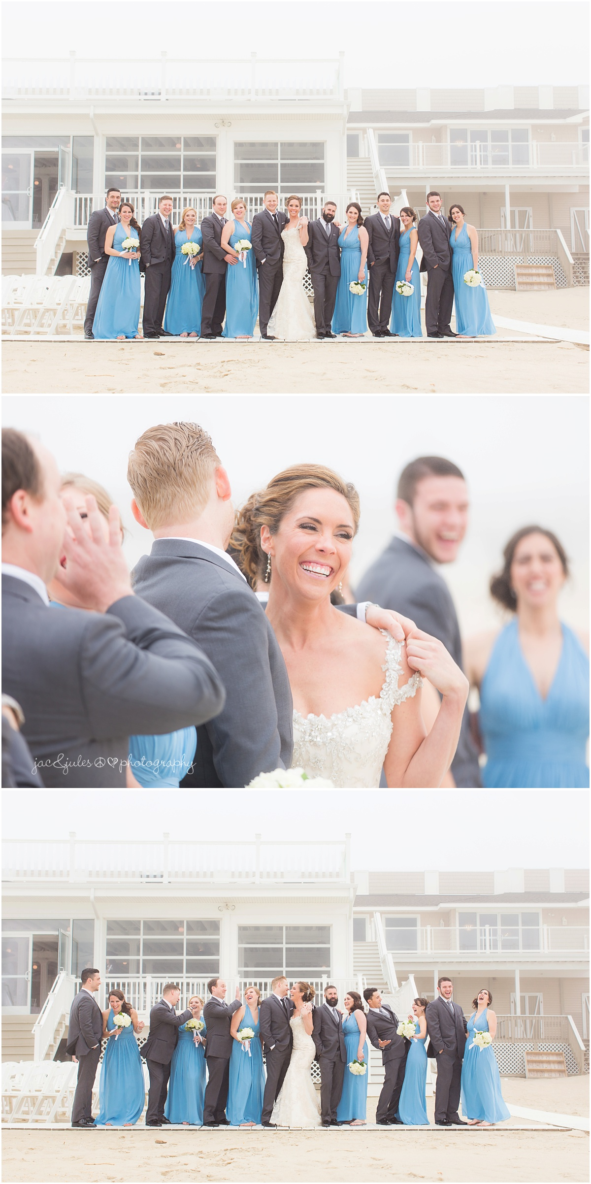 fun bridal party photo on the beach. periwinkle bridesmaid dresses