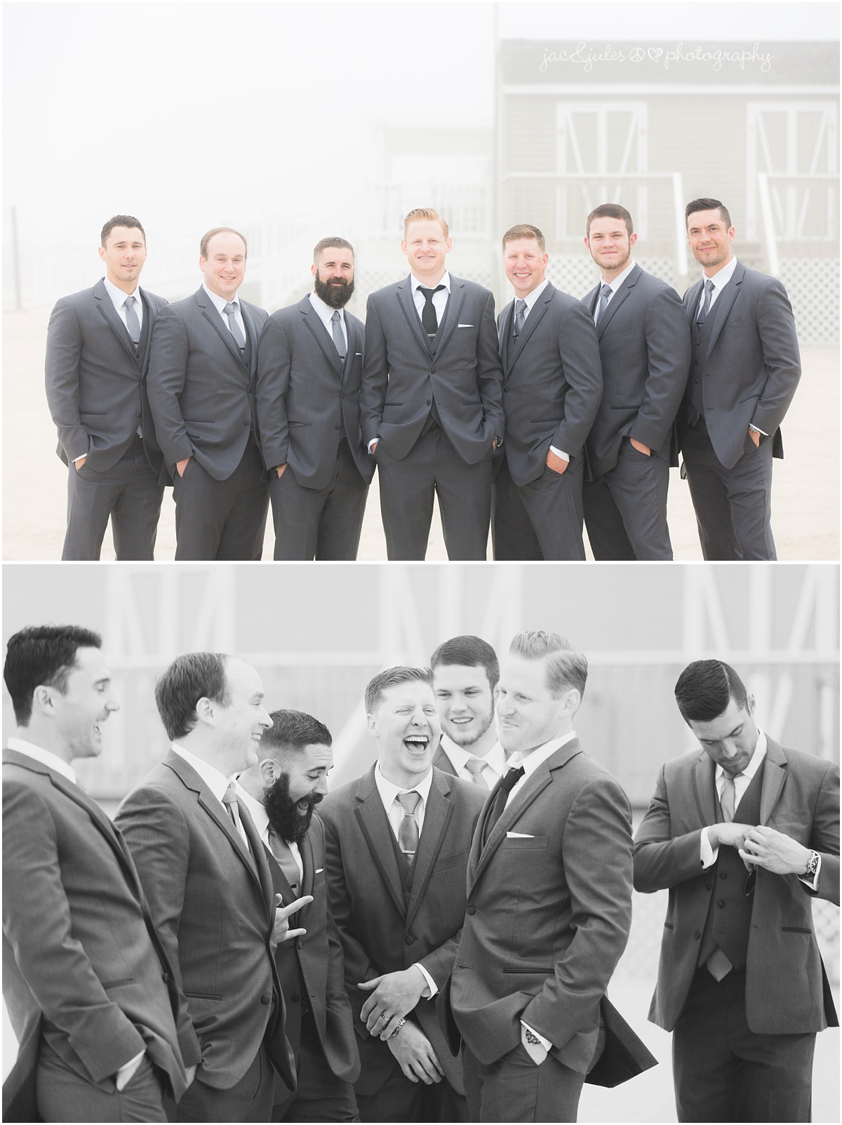 groomsmen portrait and candid on the beach