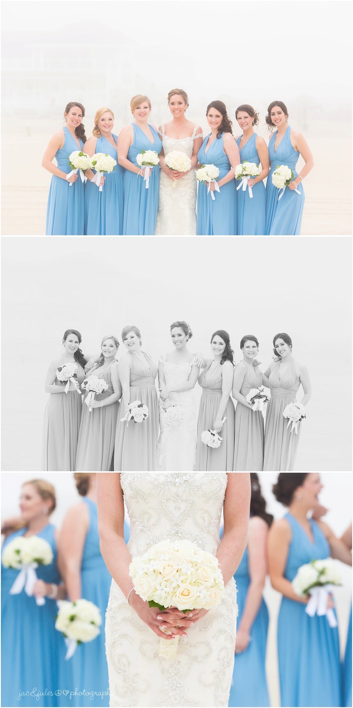 bridesmaids portrait and bridal bouquet
