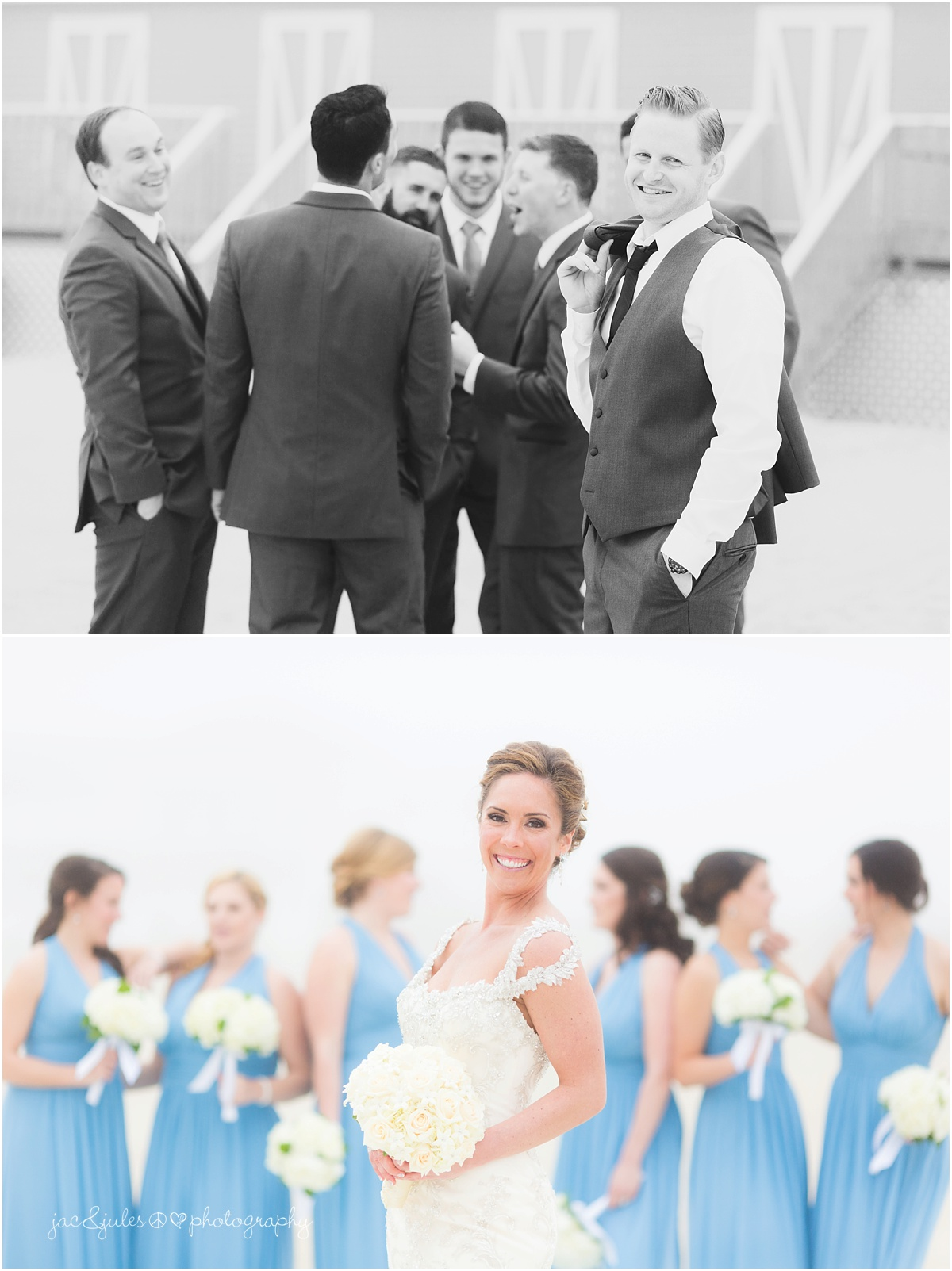 bride in front of bridesmaids, groom in front of groomsmen