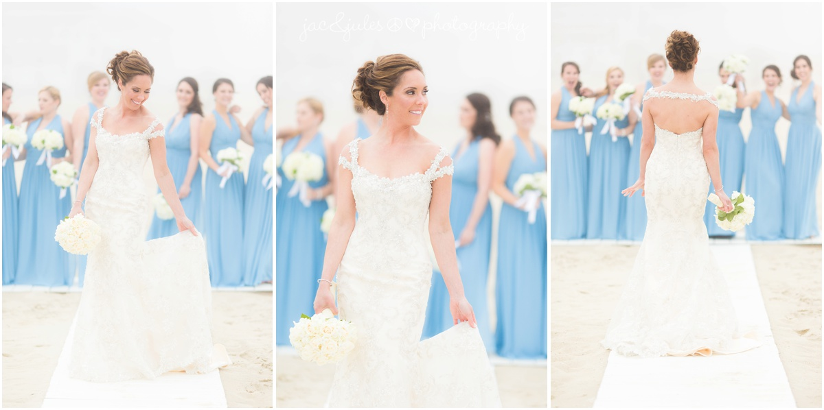 bride showing off her dress with bridesmaids in periwinkle dresses in background