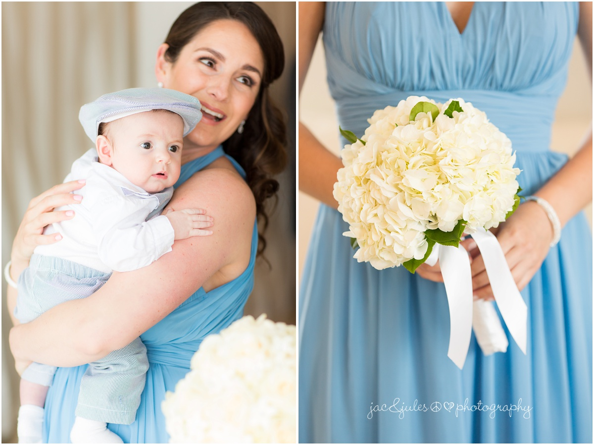 bridesmaid bouquet and tiny dapper baby wedding guest.