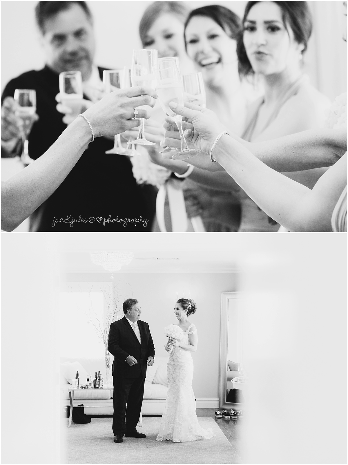 bridesmaids cheers, toast. father daughter moment before walking down the aisle.