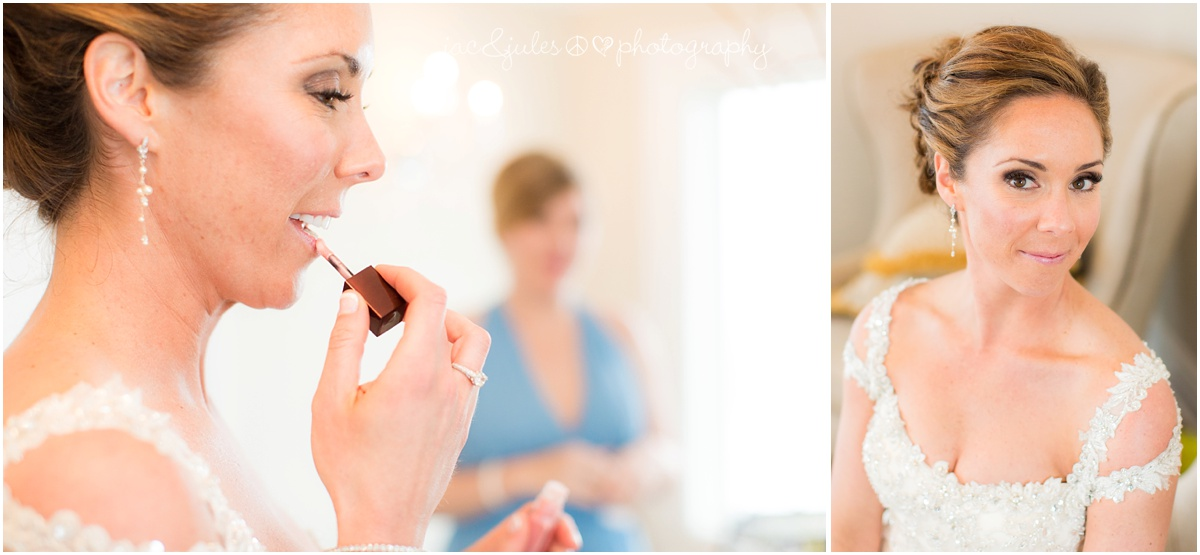 bride touching up her make up and bridal portrait