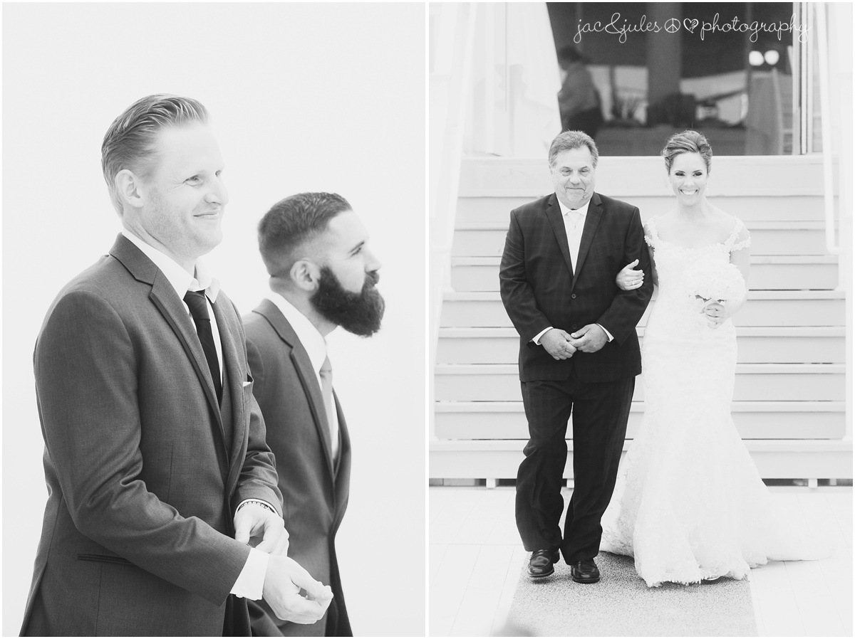 bride coming down the aisle with dad, groom watching with best man