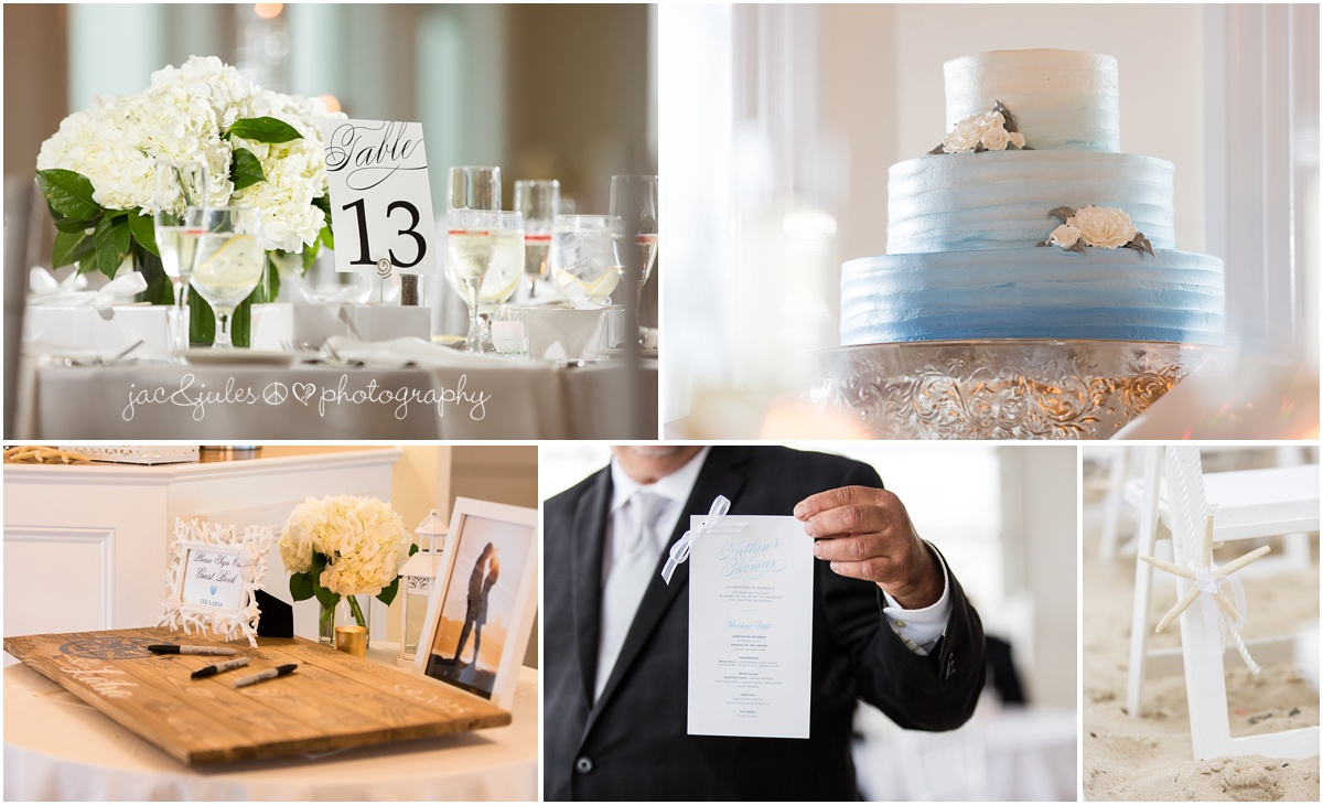 reception details, table setting, cake, menu, sign in cutting board.