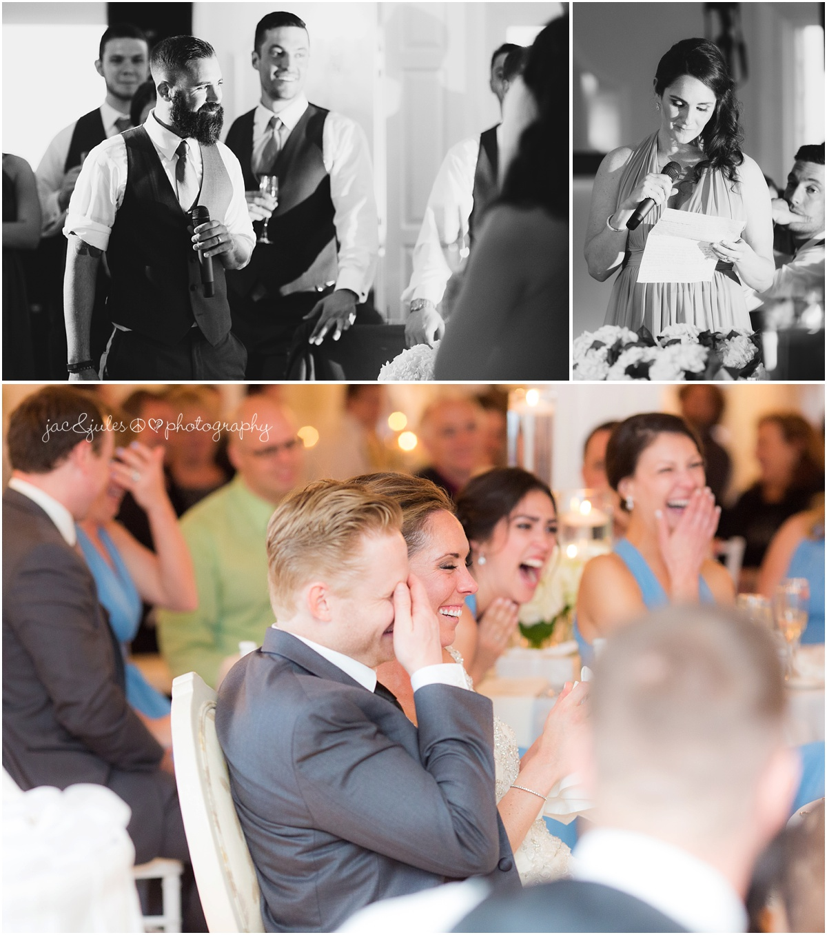 best man and maid of honor speeches, bride and groom laughing.