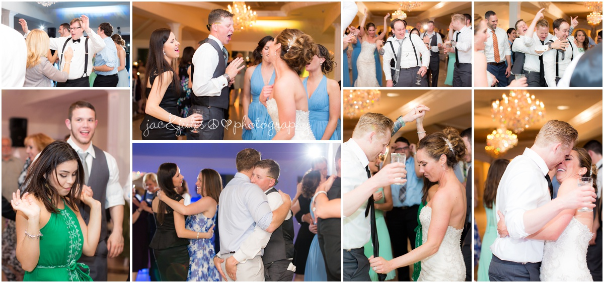 wild fun reception party photos of wedding guests singing and bride and groom
