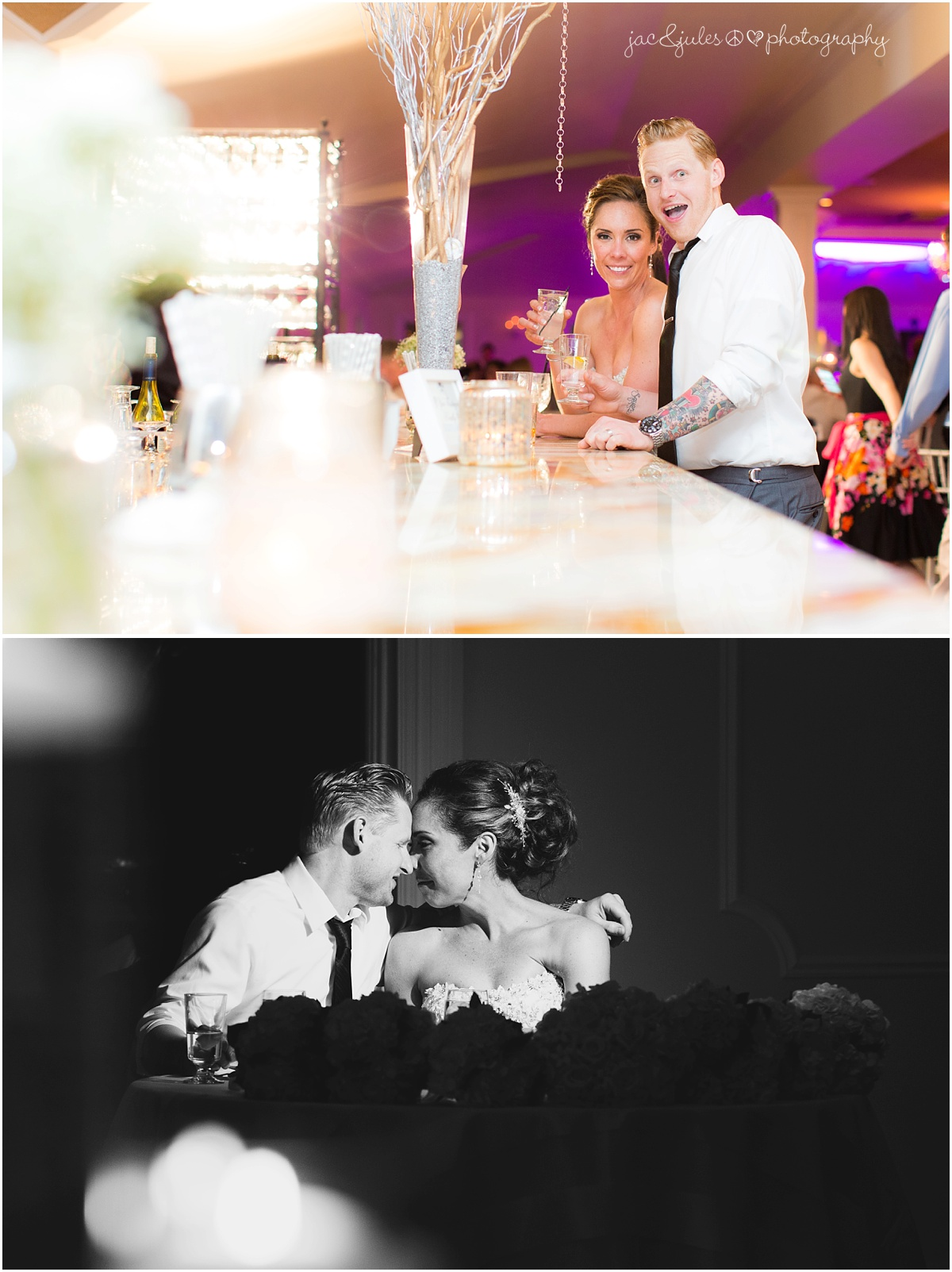 bride and groom at the bar and intimate at the sweetheart table