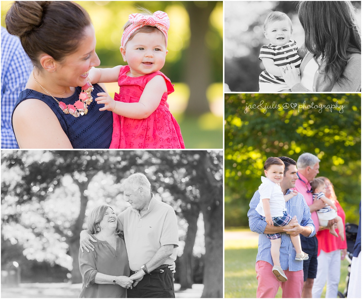 candid outtakes from extended family session at Holmdel Park.