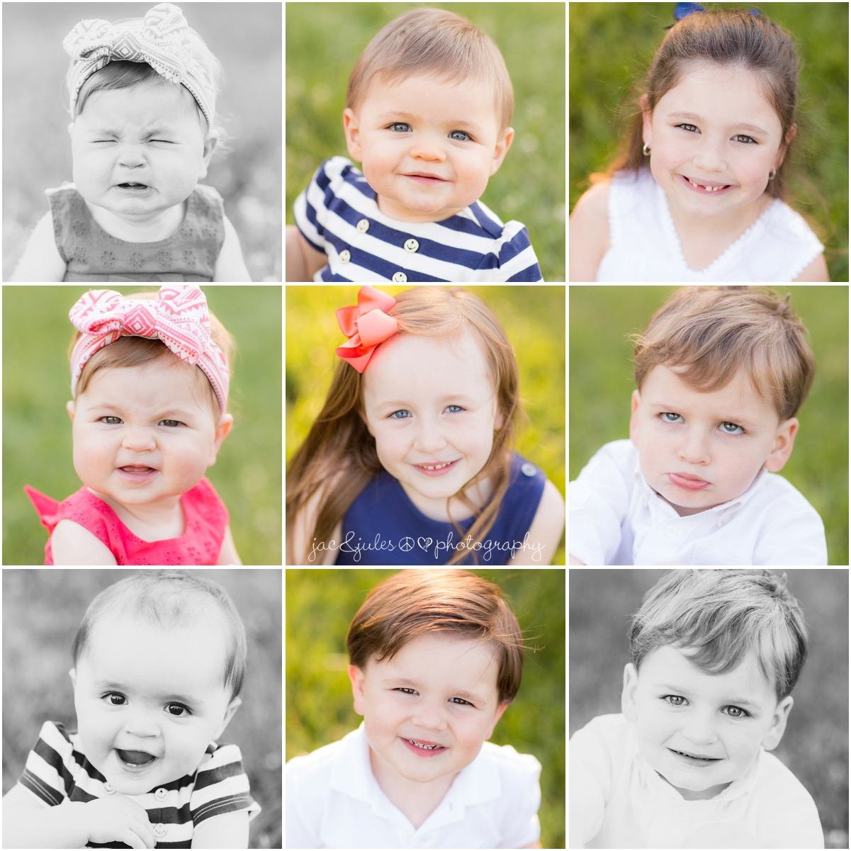 individual headshot of all the grandchildren from extended family session