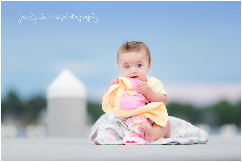jacnjules photographs 6 month old girl at beachwood beach in ocean county nj