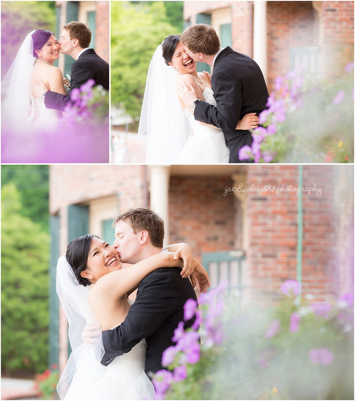 bride and groom cute kissing photo