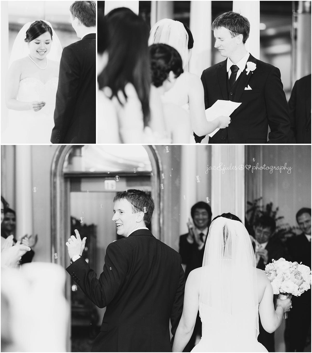 indoor wedding ceremony at the manor