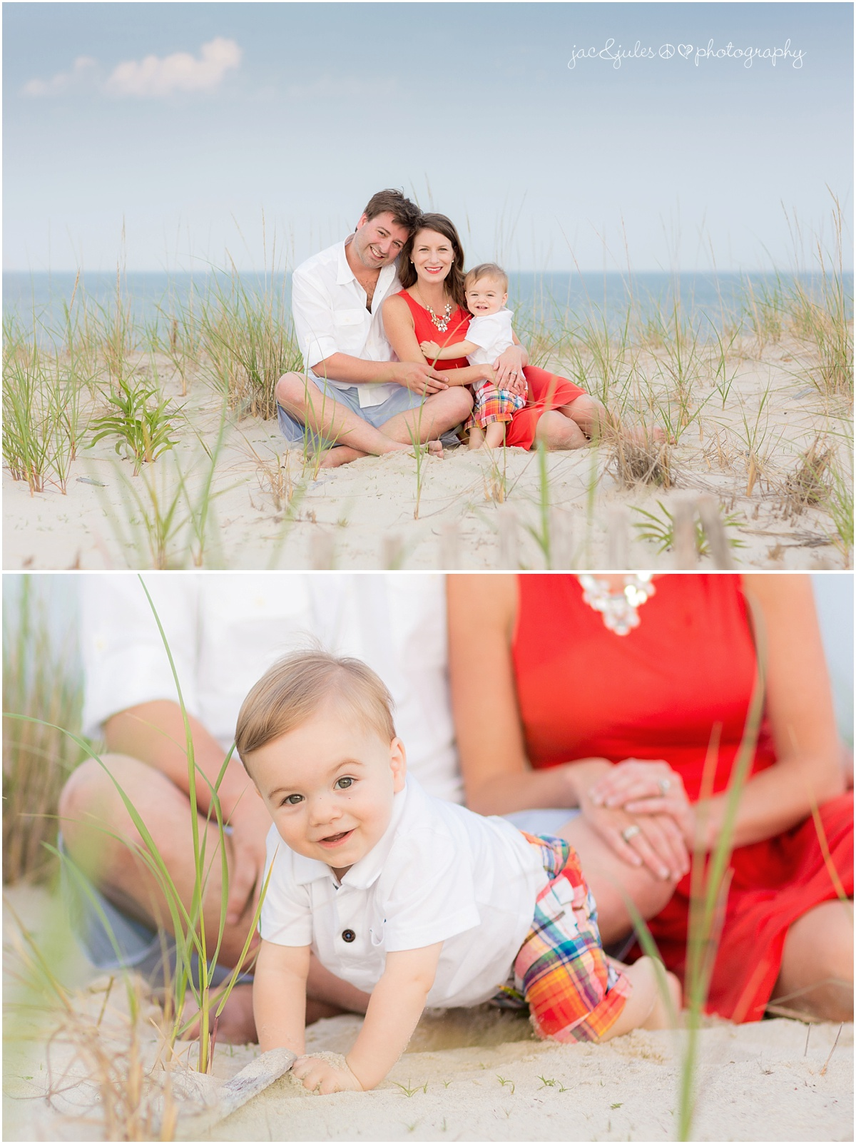 family beach photo with one year old boy.