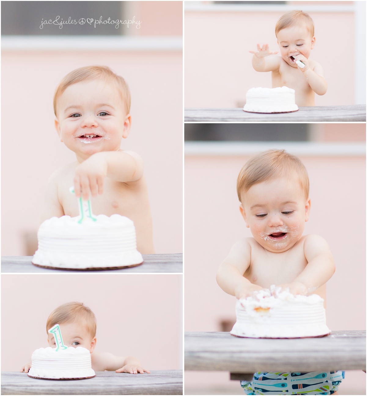 baby smashing cake for his first birthday.