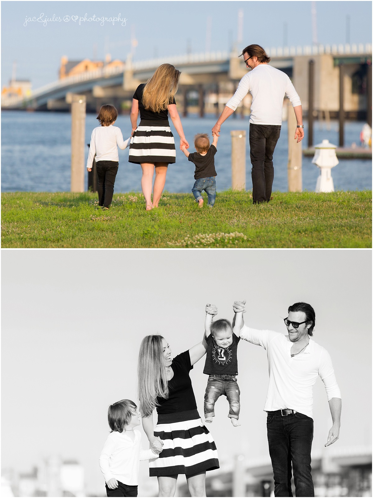 family walking near the bay, and swinging the baby.
