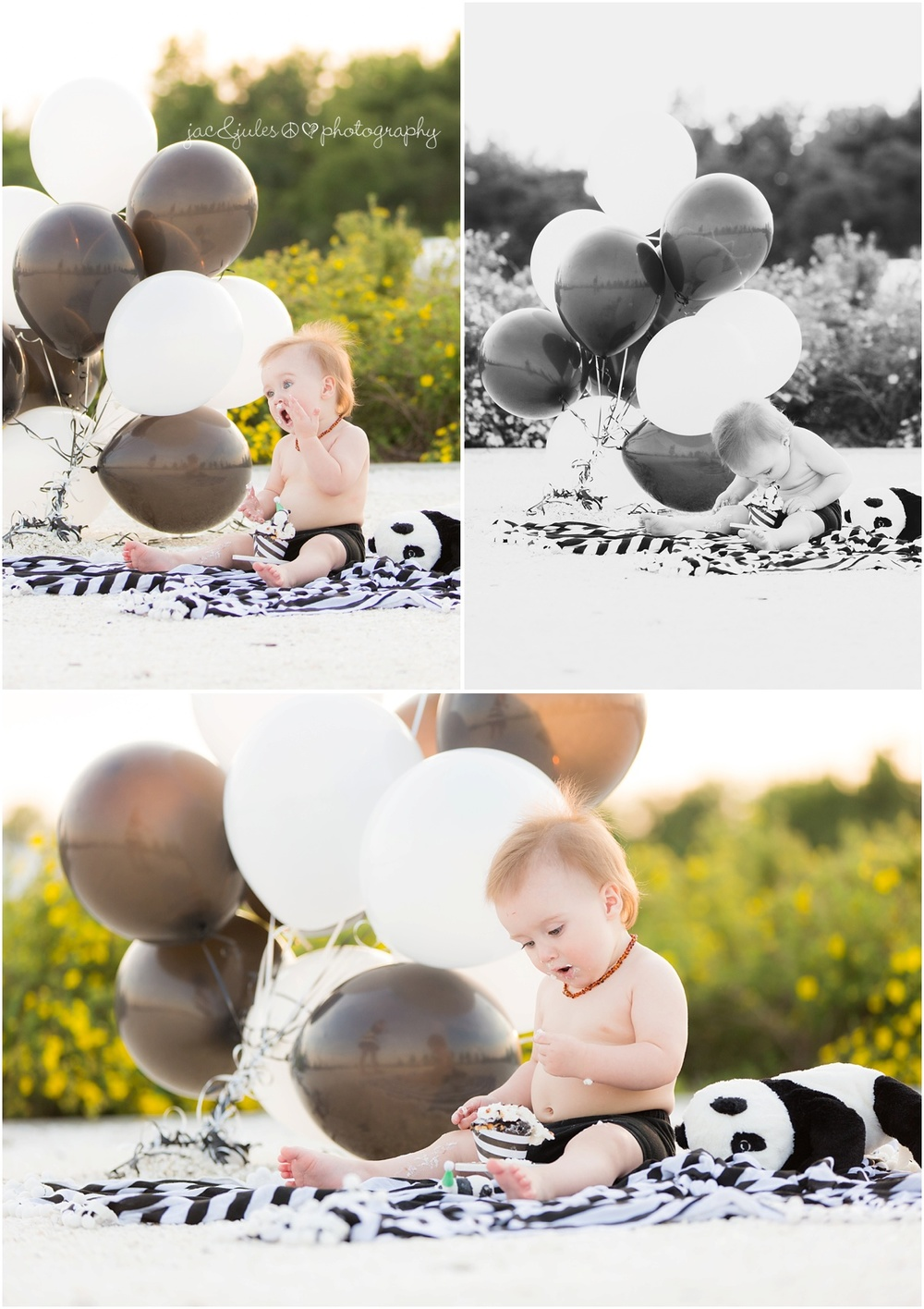 panda theme cupcake cake smash with black and white balloons