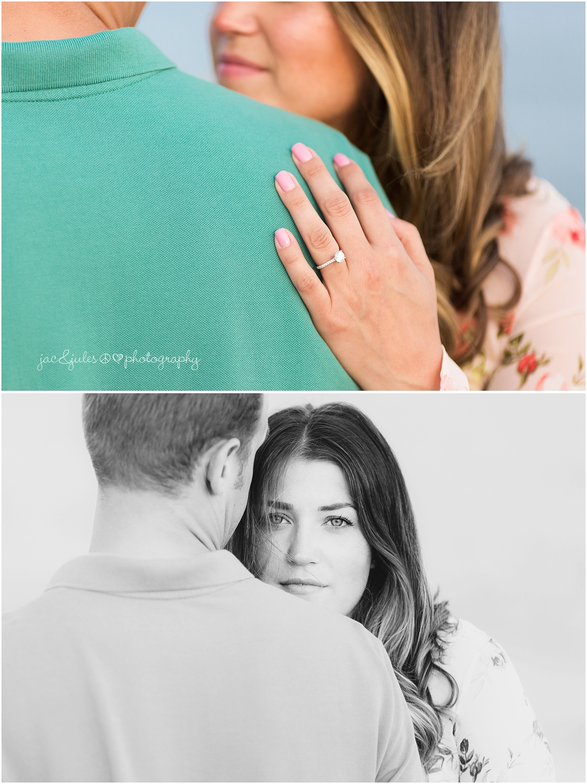 bride to be shows off her engagement ring and sultry stare.