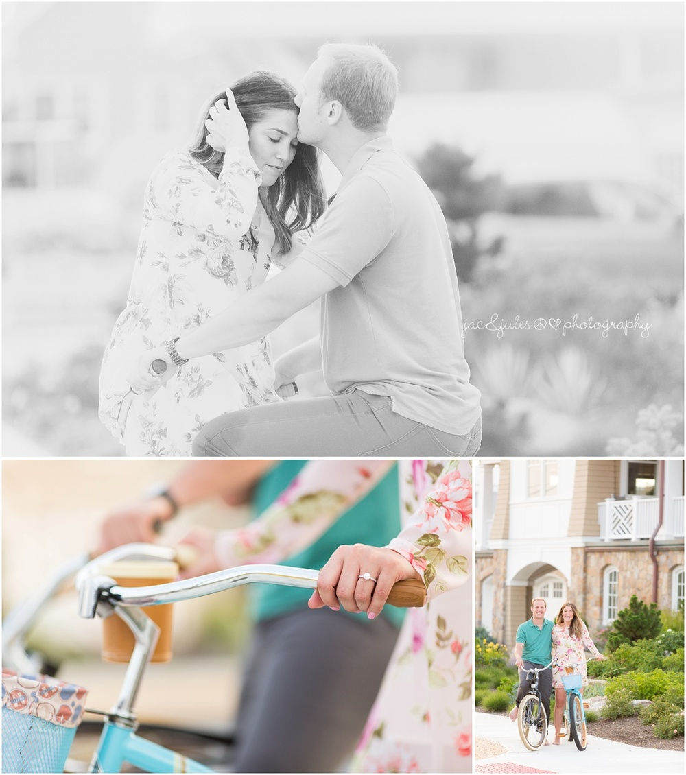 engaged couple having fun on their beach cruiser bikes