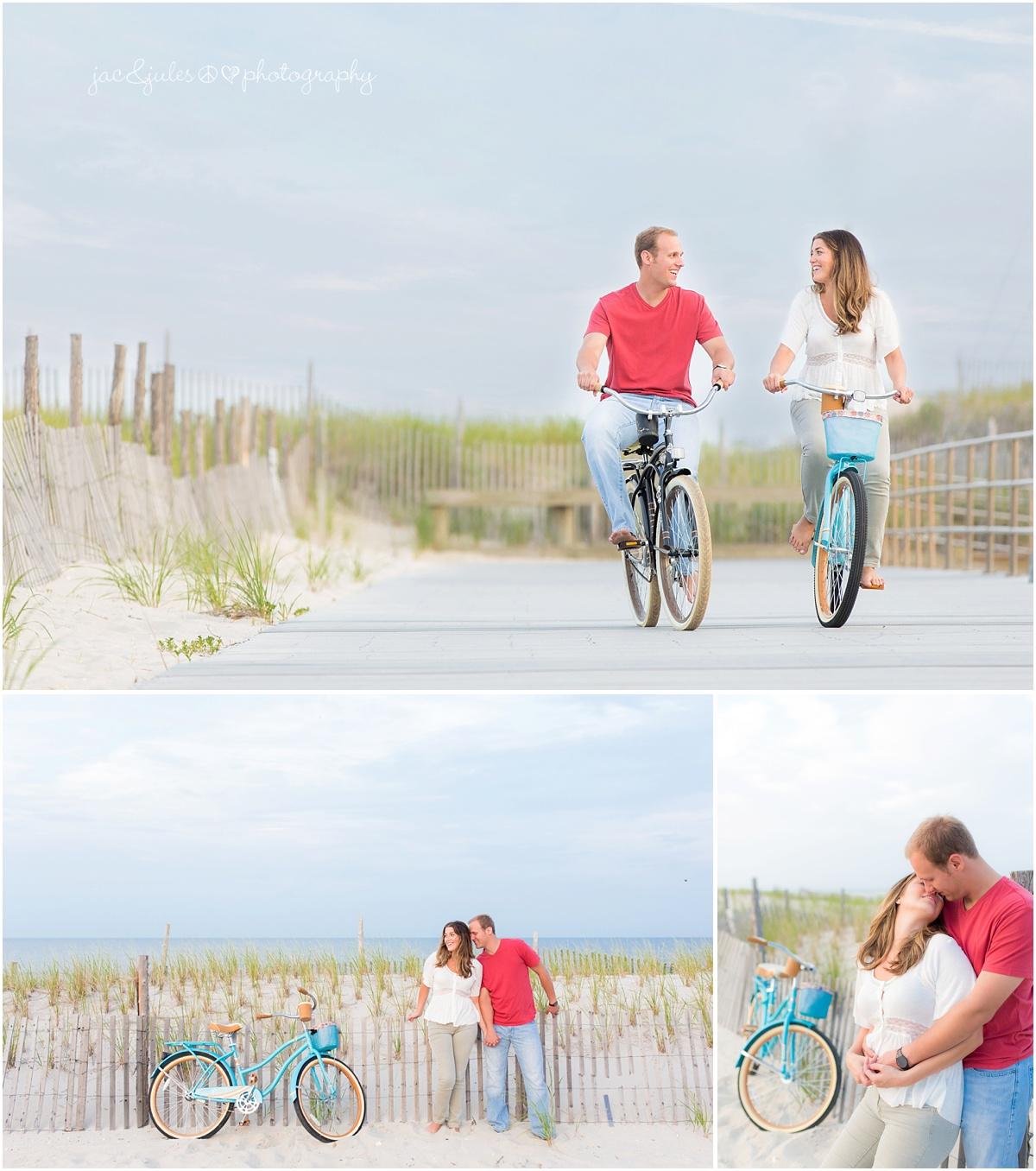 engaged couple having fun on their beach cruiser bikes